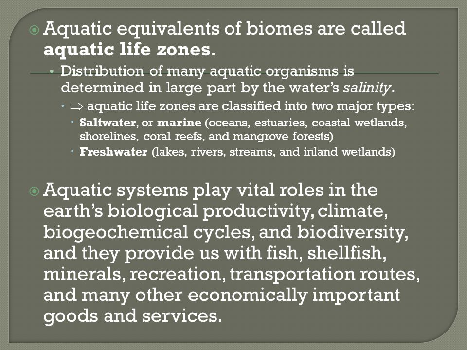  Aquatic equivalents of biomes are called aquatic life zones. Distribution of many aquatic organisms is determined in large part by the water's salin