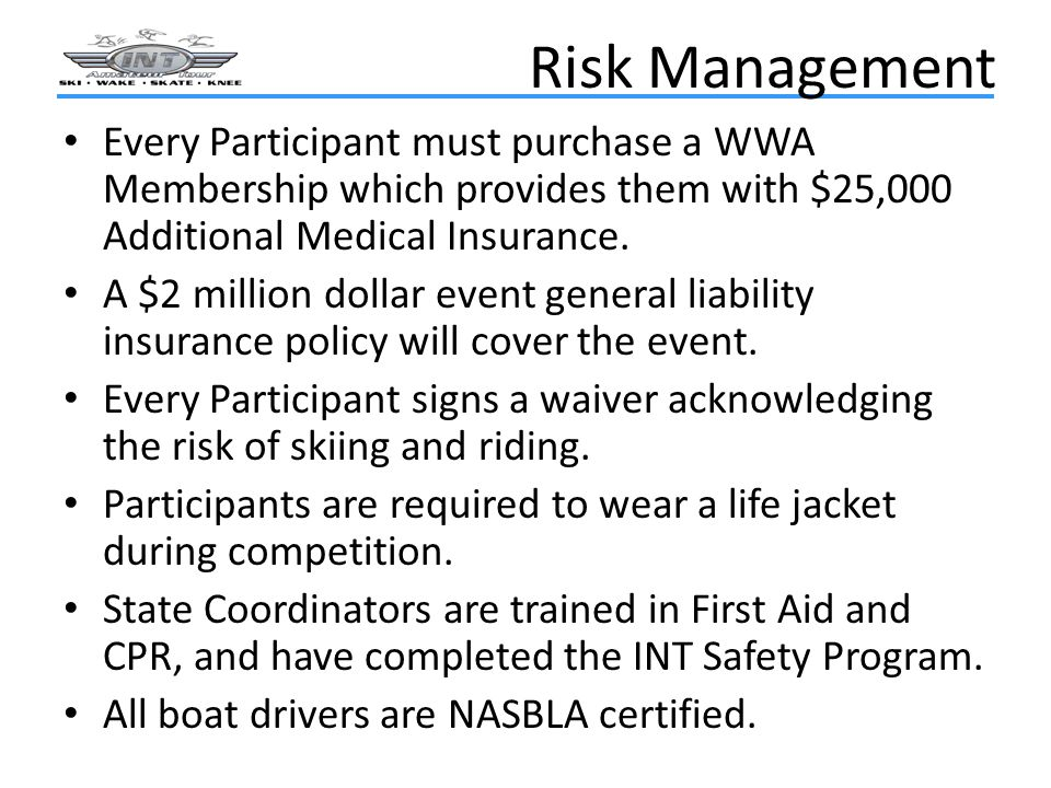 Risk Management Every Participant must purchase a WWA Membership which provides them with $25,000 Additional Medical Insurance.