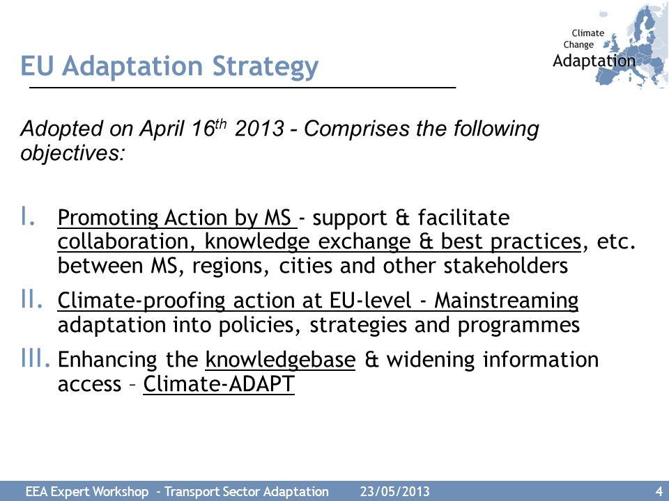 EEA Expert Workshop - Transport Sector Adaptation 23/05/2013 5 EU action for adaptation in the Transport sector.