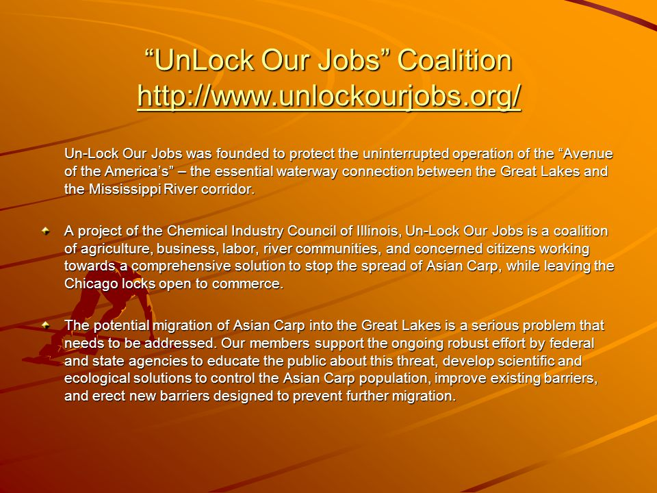 """UnLock Our Jobs"" Coalition http://www.unlockourjobs.org/ http://www.unlockourjobs.org/ Un-Lock Our Jobs was founded to protect the uninterrupted oper"