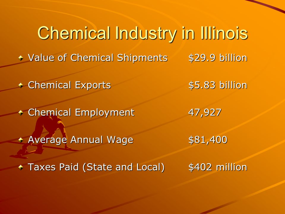 Chemical Industry in Illinois Value of Chemical Shipments $29.9 billion Chemical Exports$5.83 billion Chemical Employment47,927 Average Annual Wage$81,400 Taxes Paid (State and Local)$402 million