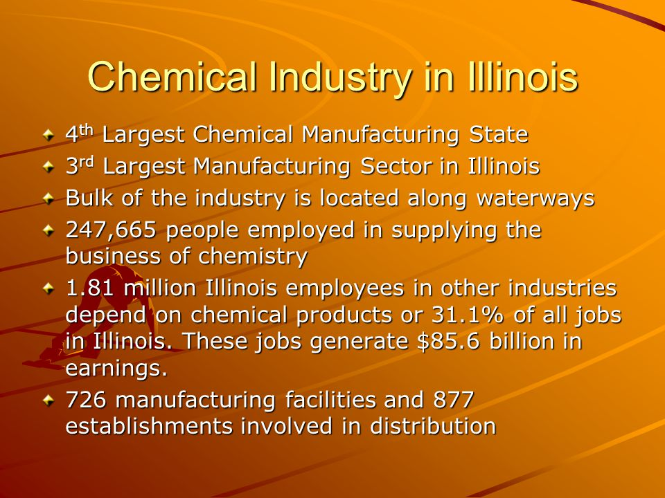 Chemical Industry in Illinois 4 th Largest Chemical Manufacturing State 3 rd Largest Manufacturing Sector in Illinois Bulk of the industry is located along waterways 247,665 people employed in supplying the business of chemistry 1.81 million Illinois employees in other industries depend on chemical products or 31.1% of all jobs in Illinois.