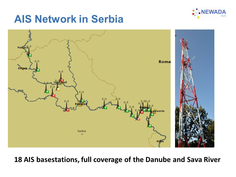 AIS Network in Serbia 18 AIS basestations, full coverage of the Danube and Sava River