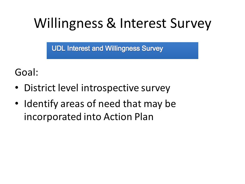 Willingness & Interest Survey Goal: District level introspective survey Identify areas of need that may be incorporated into Action Plan