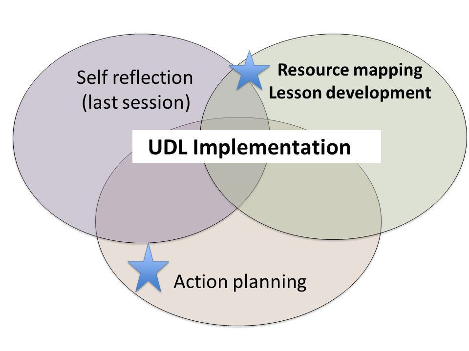 Resource mapping Lesson development Action planning Self reflection (last session) UDL Implementation