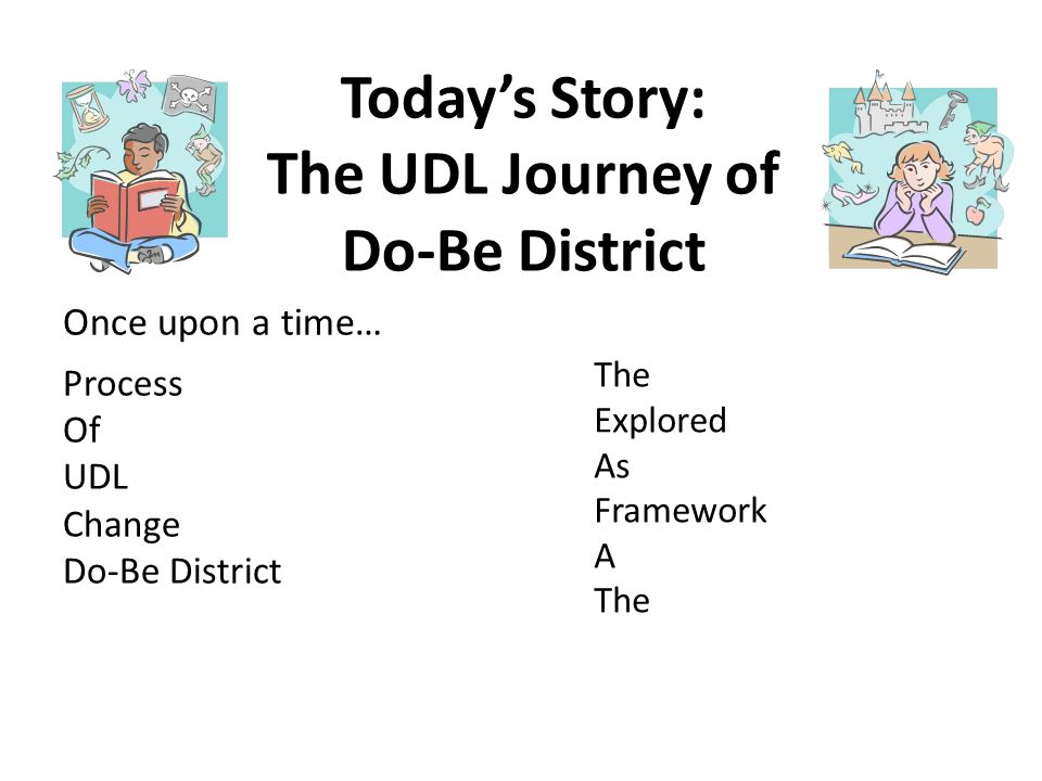 Today's Story: The UDL Journey of Do-Be District Process Of UDL Change Do-Be District Once upon a time… The Explored As Framework A The