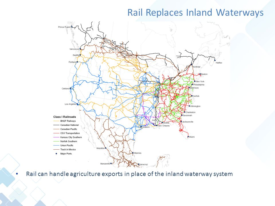 Rail Replaces Inland Waterways Rail can handle agriculture exports in place of the inland waterway system