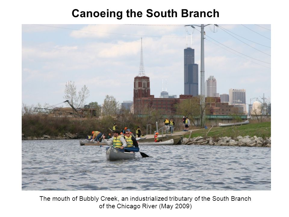 The mouth of Bubbly Creek, an industrialized tributary of the South Branch of the Chicago River (May 2009) Canoeing the South Branch
