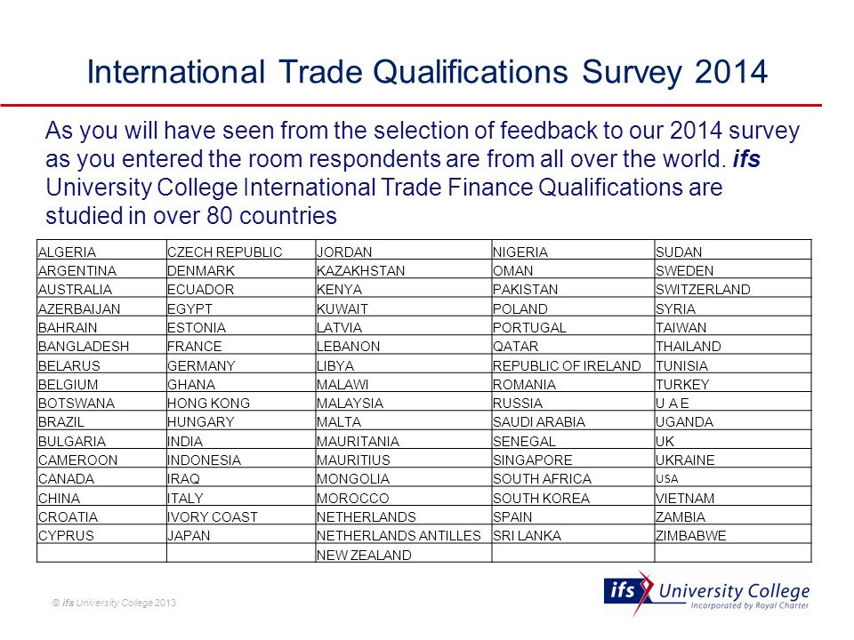 © ifs University College 2013 As you will have seen from the selection of feedback to our 2014 survey as you entered the room respondents are from all