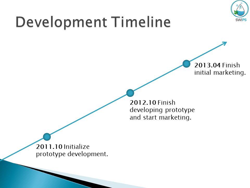 2011.10 Initialize prototype development. 2012.10 Finish developing prototype and start marketing.