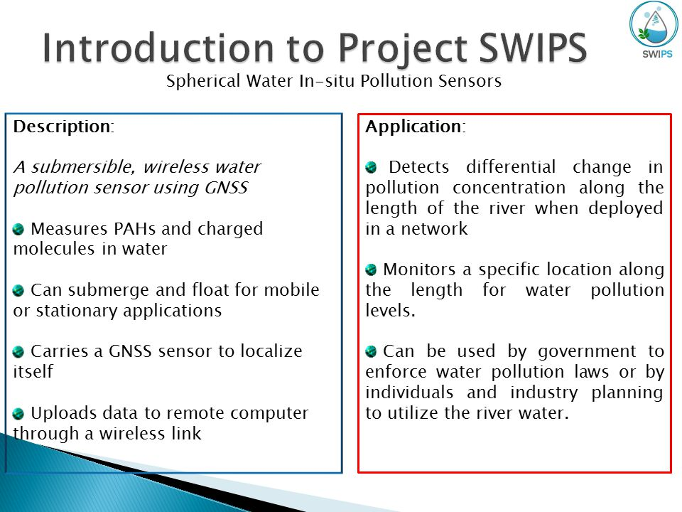 Spherical Water In-situ Pollution Sensors Application: Detects differential change in pollution concentration along the length of the river when deployed in a network Monitors a specific location along the length for water pollution levels.