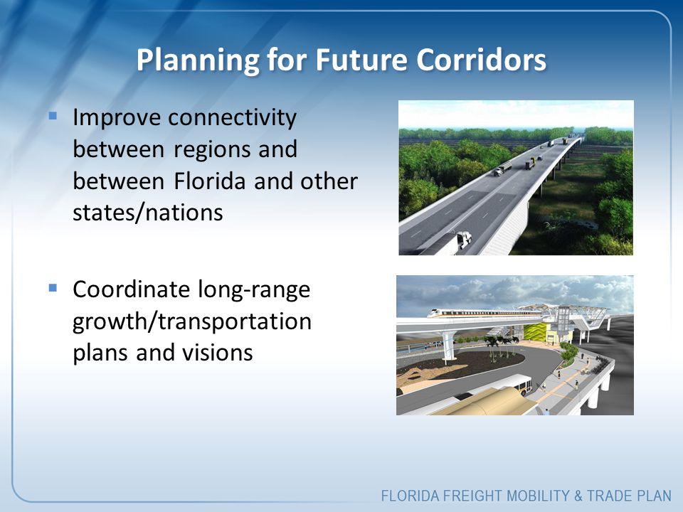 Planning for Future Corridors  Improve connectivity between regions and between Florida and other states/nations  Coordinate long-range growth/transportation plans and visions