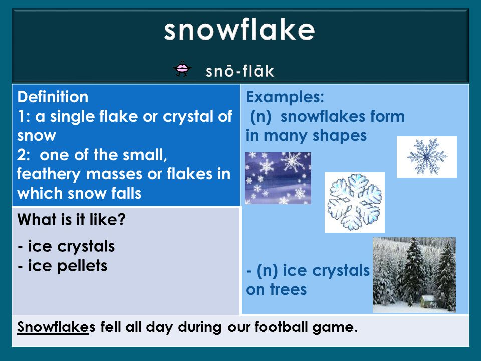 Definition 1: a single flake or crystal of snow 2: one of the small, feathery masses or flakes in which snow falls Examples: (n) snowflakes form in many shapes - (n) ice crystals on trees What is it like.