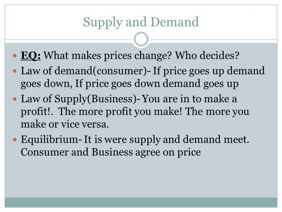 Supply and Demand EQ: What makes prices change.Who decides.