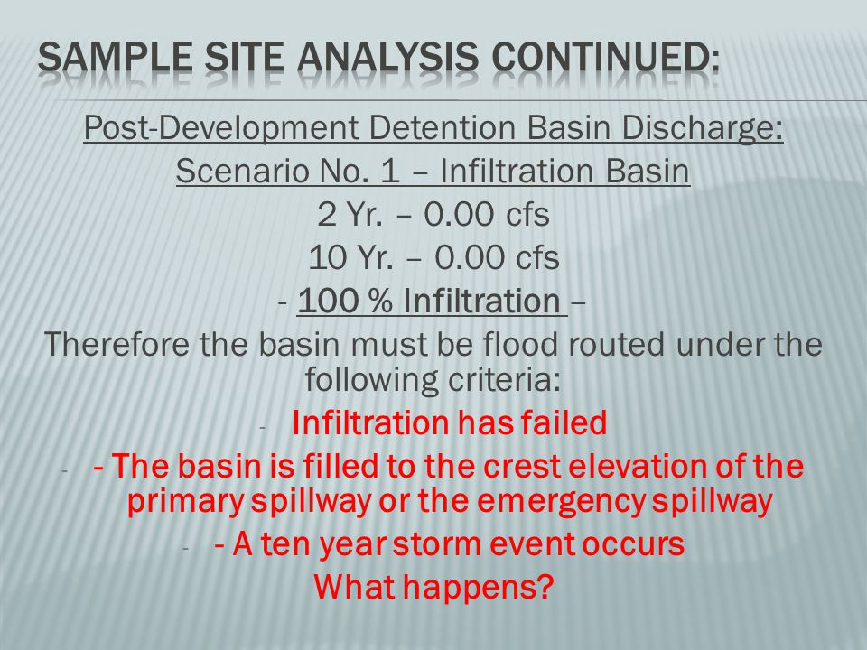 Post-Development Detention Basin Discharge: Scenario No.