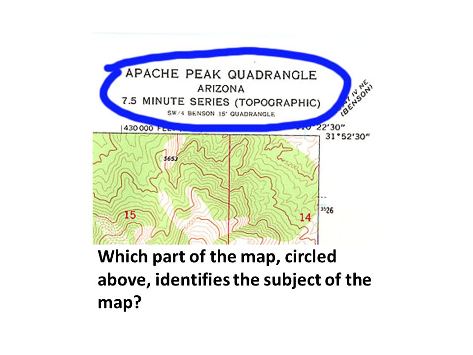 Which part of the map, circled above, identifies the subject of the map?