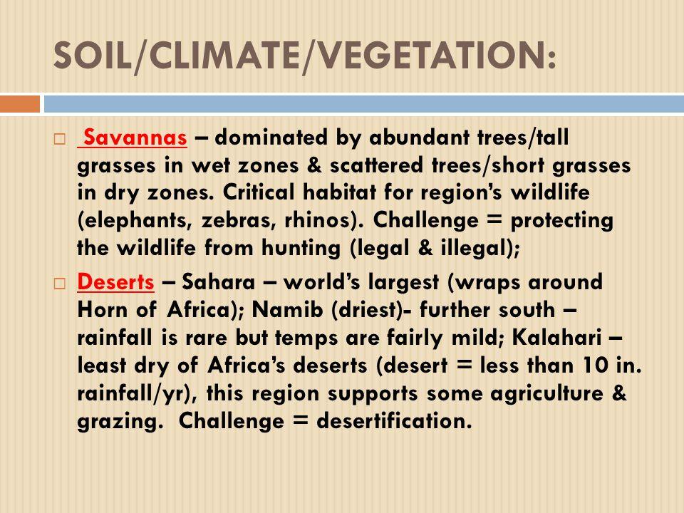 SOIL/CLIMATE/VEGETATION:  Savannas – dominated by abundant trees/tall grasses in wet zones & scattered trees/short grasses in dry zones.