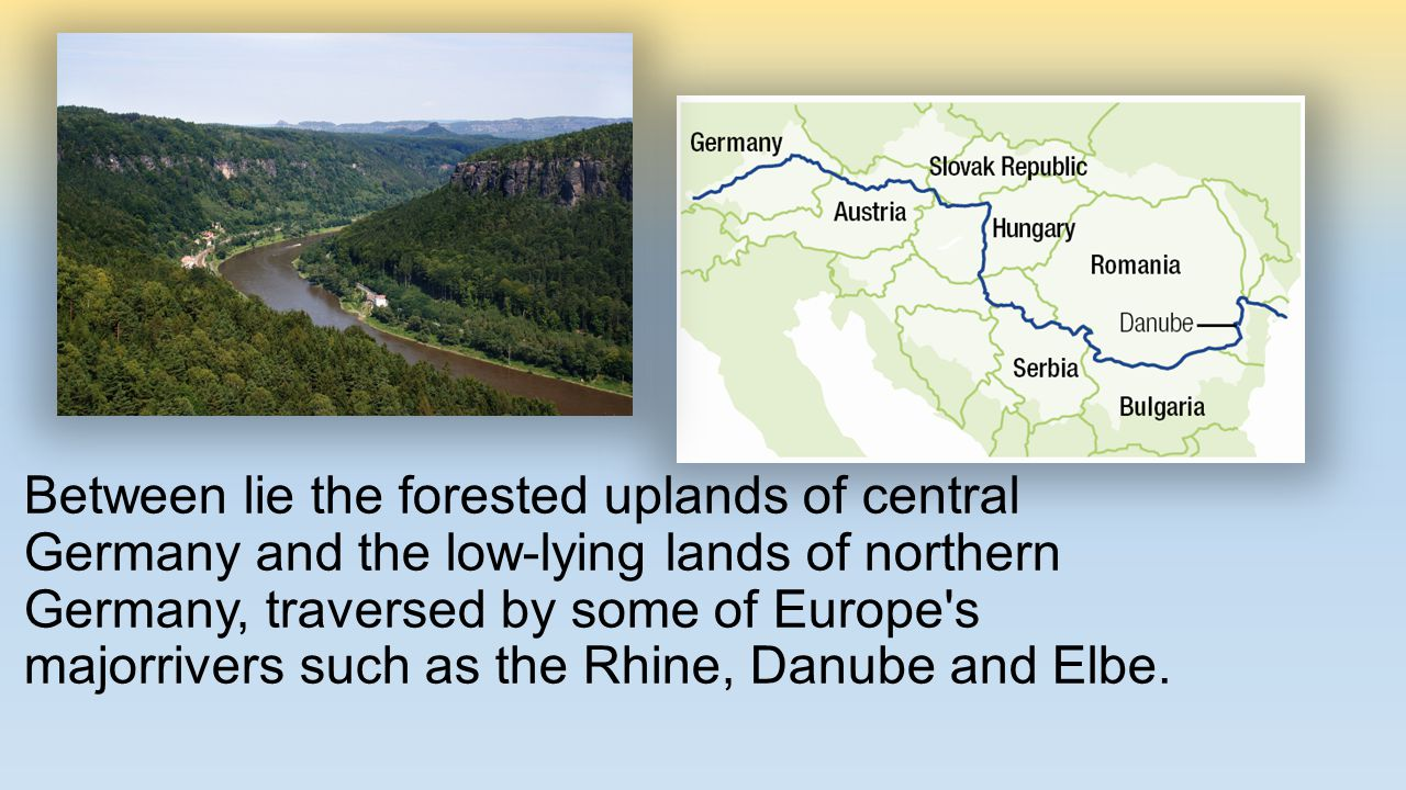 Danube is classified as an international waterway, it originates in the town of Donaueschingen -which is in the Black Forest of Germany The Rhine flows through Germany and eventually empties into the North Sea in the Netherlands.