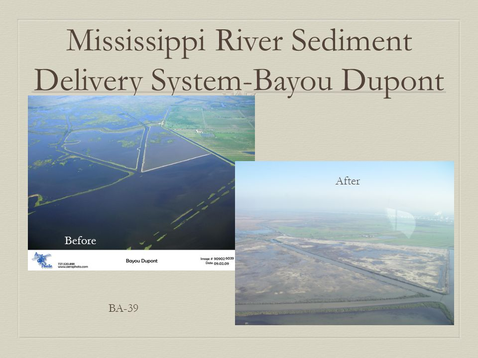 Mississippi River Sediment Delivery System-Bayou Dupont Before After BA-39