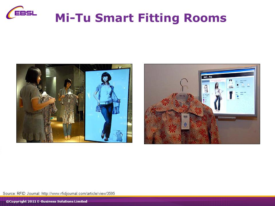©Copyright 2011 E-Business Solutions Limited Mi-Tu Smart Fitting Rooms Source: RFID Journal: http://www.rfidjournal.com/article/view/3595