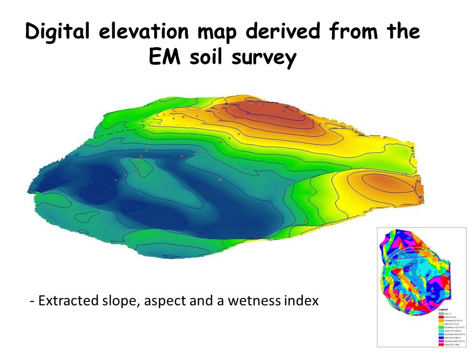 Digital elevation map derived from the EM soil survey - Extracted slope, aspect and a wetness index