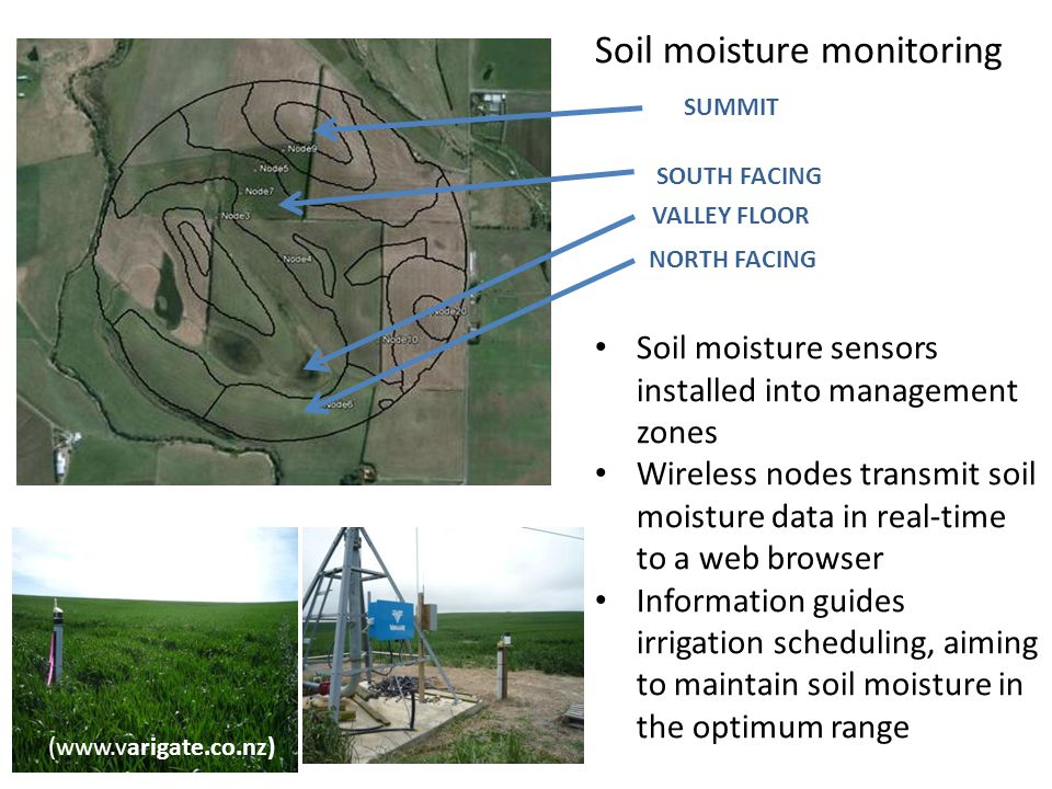 Soil moisture monitoring Soil moisture sensors installed into management zones Wireless nodes transmit soil moisture data in real-time to a web browser Information guides irrigation scheduling, aiming to maintain soil moisture in the optimum range NORTH FACING SOUTH FACING SUMMIT VALLEY FLOOR (www.varigate.co.nz)