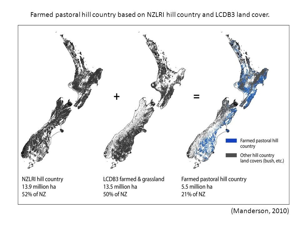 (Manderson, 2010) Farmed pastoral hill country based on NZLRI hill country and LCDB3 land cover.