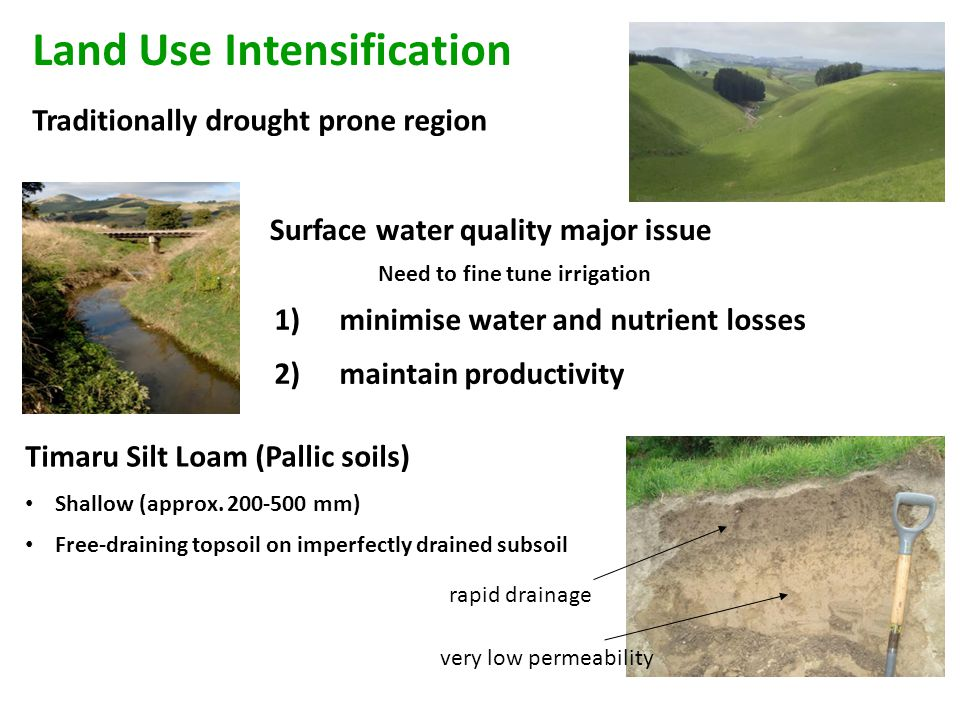 Traditionally drought prone region Timaru Silt Loam (Pallic soils) Shallow (approx.