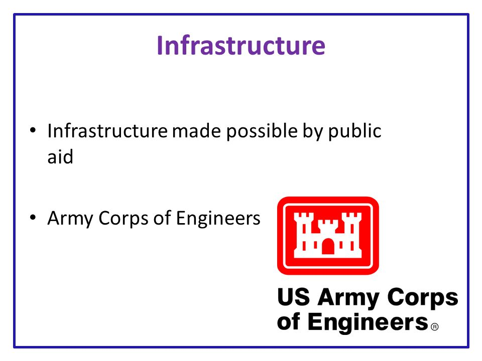 Infrastructure Infrastructure made possible by public aid Army Corps of Engineers