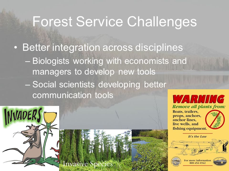 Forest Service Challenges Better integration across disciplines –Biologists working with economists and managers to develop new tools –Social scientists developing better communication tools 34