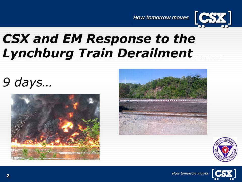2 CSX and EM Response to the Lynchburg Train Derailment CSX and EM Response to the Lynchburg Train Derailment 9 days…