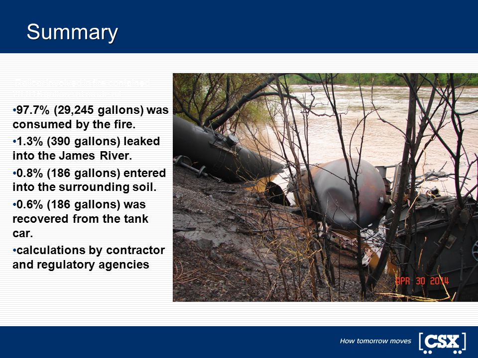 Summary Railcar involved in fire contained 29,916 gallons of crude oil 97.7% (29,245 gallons) was consumed by the fire. 1.3% (390 gallons) leaked into