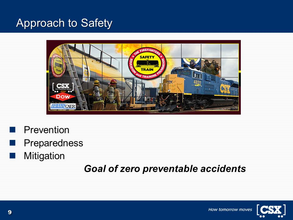9 Approach to Safety Prevention Preparedness Mitigation Goal of zero preventable accidents