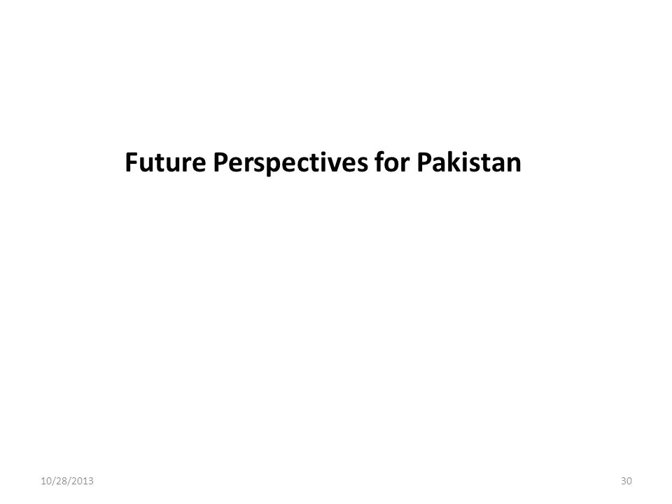 10/28/201330 Future Perspectives for Pakistan