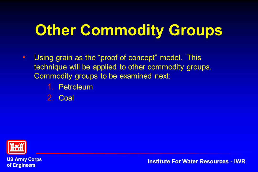 US Army Corps of Engineers Institute For Water Resources - IWR Other Commodity Groups Using grain as the proof of concept model.