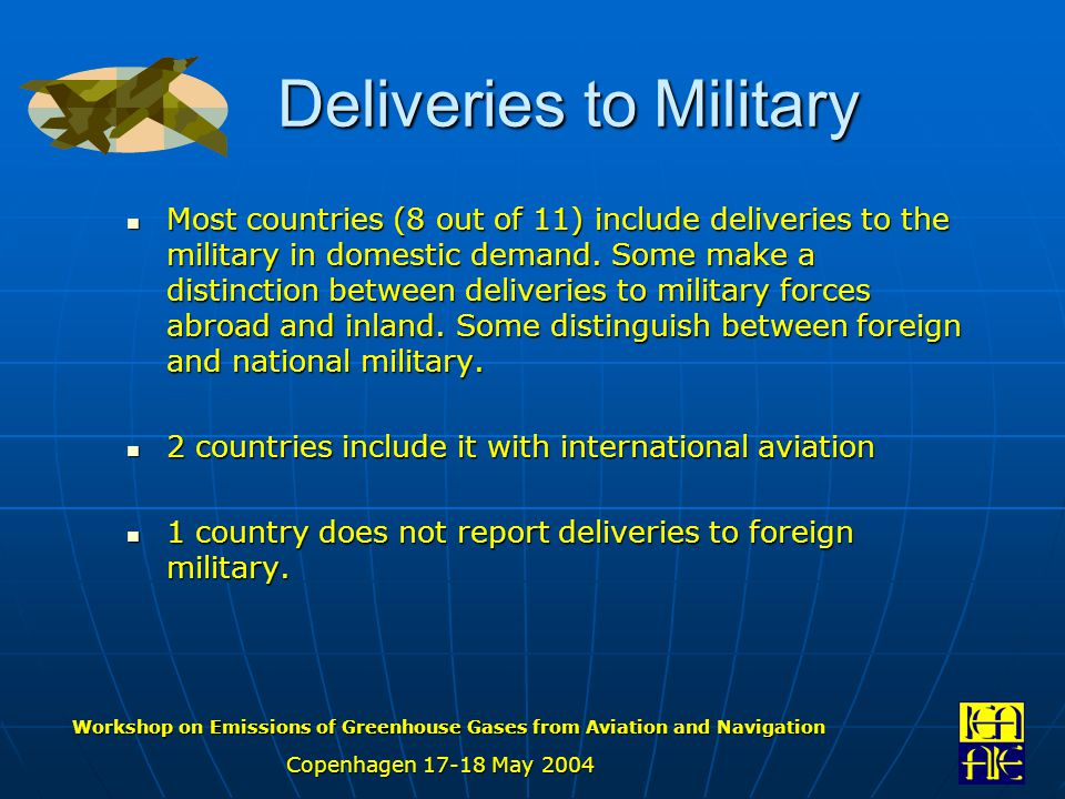 Workshop on Emissions of Greenhouse Gases from Aviation and Navigation Copenhagen 17-18 May 2004 Deliveries to Military Most countries (8 out of 11) include deliveries to the military in domestic demand.