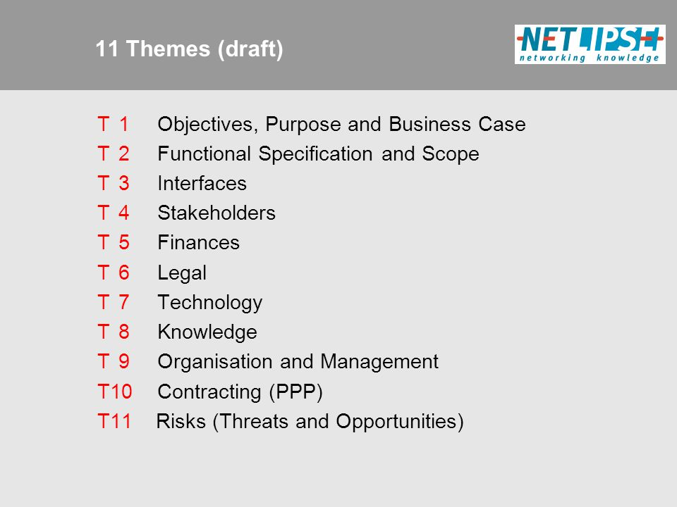 11 Themes (draft) T 1 Objectives, Purpose and Business Case T 2 Functional Specification and Scope T 3 Interfaces T 4 Stakeholders T 5 Finances T 6 Legal T 7 Technology T 8 Knowledge T 9 Organisation and Management T10 Contracting (PPP) T11 Risks (Threats and Opportunities)