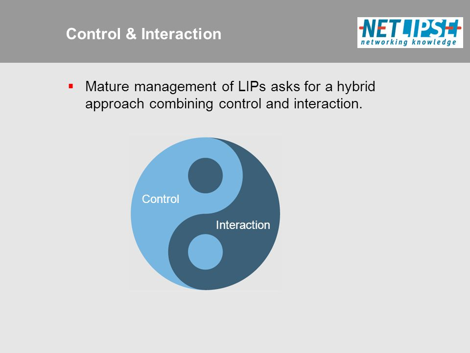 Control & Interaction Interaction Control  Mature management of LIPs asks for a hybrid approach combining control and interaction.