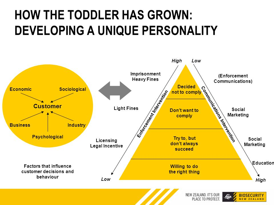 HOW THE TODDLER HAS GROWN: DEVELOPING A UNIQUE PERSONALITY Customer EconomicSociological BusinessIndustry Psychological Factors that influence customer decisions and behaviour Decided not to comply Don't want to comply Try to, but don't always succeed Willing to do the right thing Imprisonment Heavy Fines Social Marketing Education Low High Communications Intervention Enforcement Intervention High Low (Enforcement Communications) Light Fines Licensing Legal Incentive