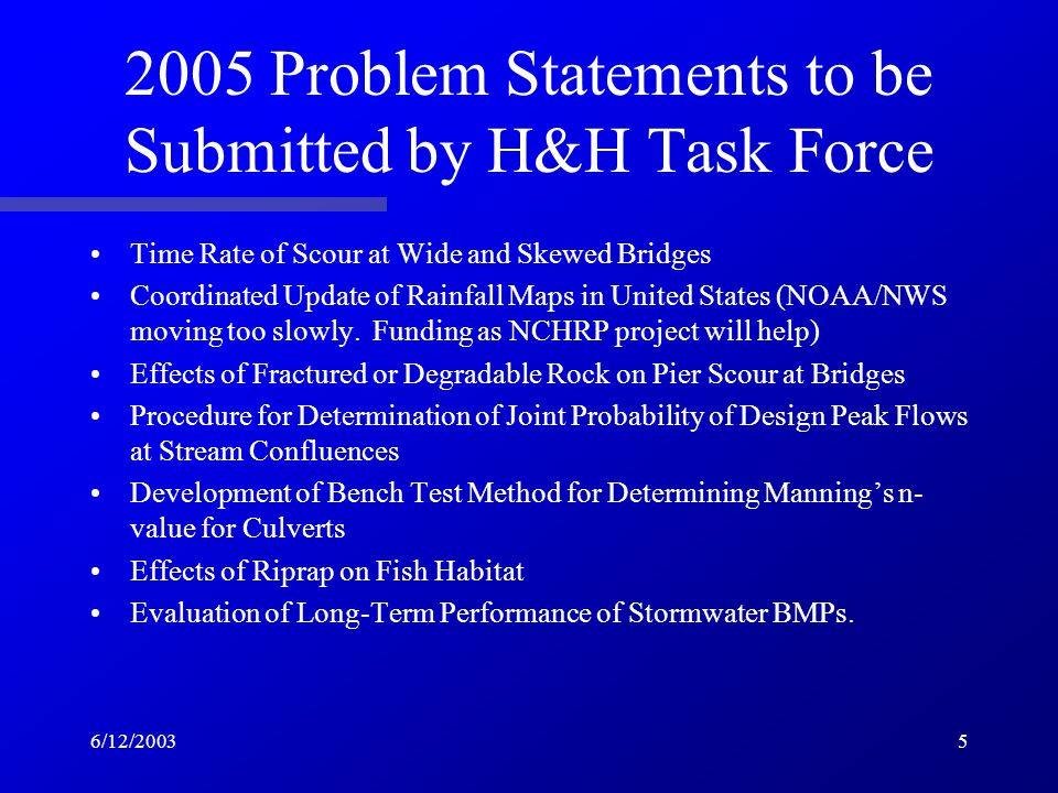 6/12/20035 2005 Problem Statements to be Submitted by H&H Task Force Time Rate of Scour at Wide and Skewed Bridges Coordinated Update of Rainfall Maps in United States (NOAA/NWS moving too slowly.