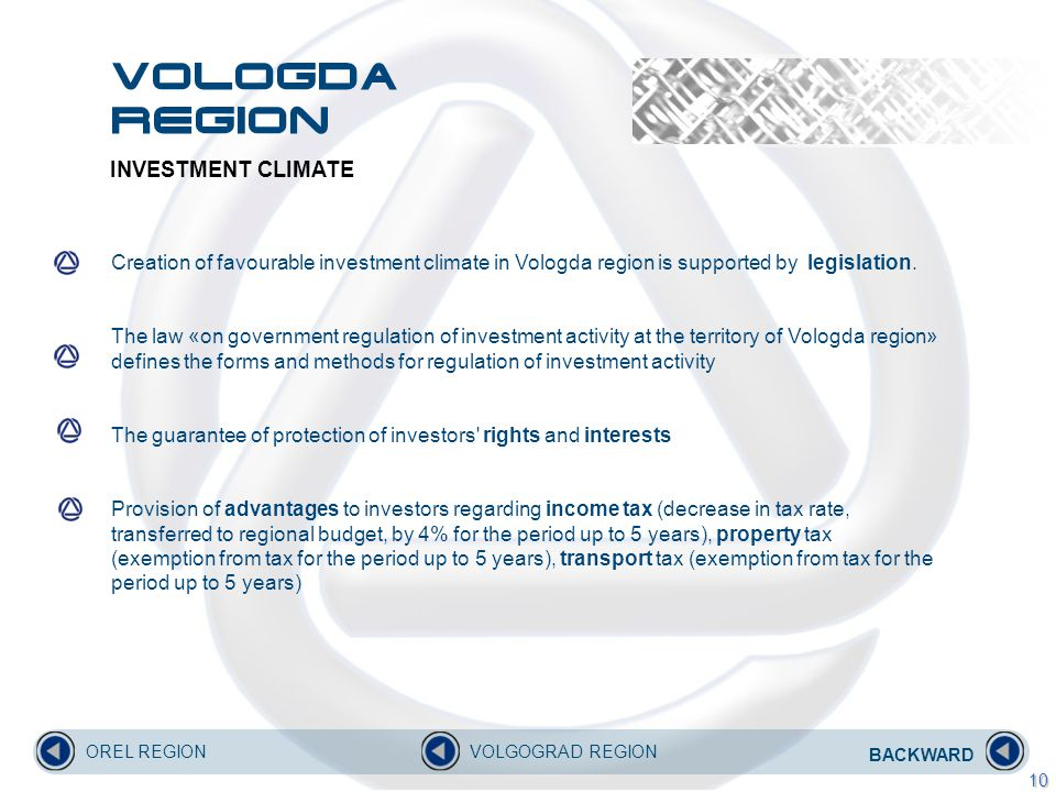 INVESTMENT CLIMATE Creation of favourable investment climate in Vologda region is supported by legislation.