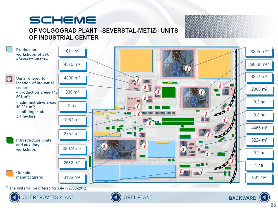 OF VOLGOGRAD PLANT «SEVERSTAL-METIZ» UNITS OF INDUSTRIAL CENTER Production workshops of JSC «Severstal-metiz» Units, offered for location of Industrial center: – production areas 143 891 m 2 ; – administrative areas 16 331 m 2 ; – building land: 3,7 hectare Infrastructure units and auxiliary workshops Outside manufacturers: BACKWARD CHEREPOVETS PLANTOREL PLANT 28 1611 m 2 4875 m 2 4830 m 2 839 m 2 2 ha 3757 m 2 2852 m 2 3165 m 2 1987 m 2 38674 m 2 681 m 2 0,2 ha 1 ha 9224 m 2 4466 m 2 0,3 ha 0,2 ha 2008 m 2 4352 m 2 28006 m 2 * 48895 m 2 * * The units will be offered for sale in 2009-2012.