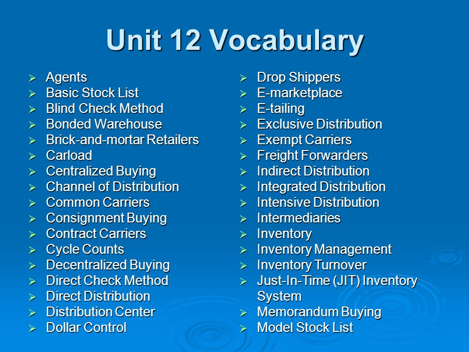 Unit 12 Vocabulary  Agents  Basic Stock List  Blind Check Method  Bonded Warehouse  Brick-and-mortar Retailers  Carload  Centralized Buying  C