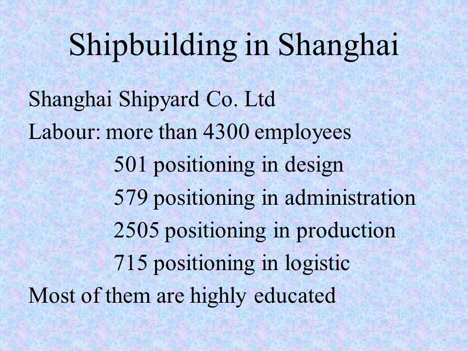 Shipbuilding in Shanghai Shanghai Shipyard Co.