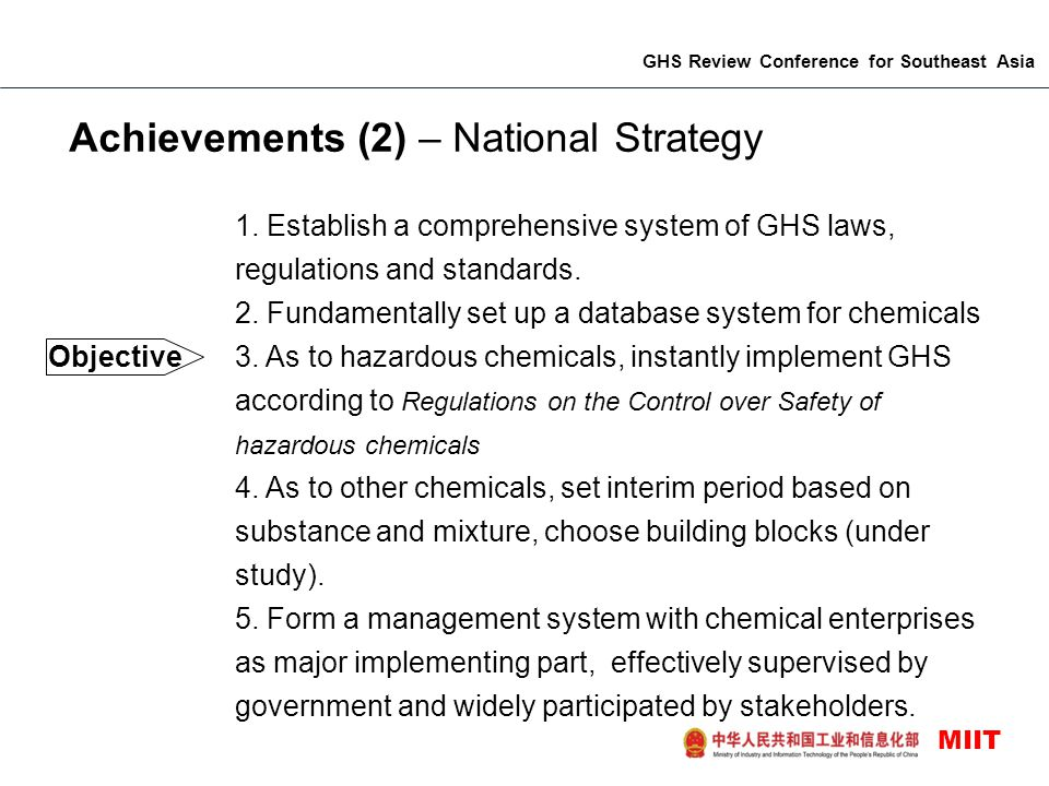 GHS Review Conference for Southeast Asia MIIT Achievements (2) – National Strategy 1.