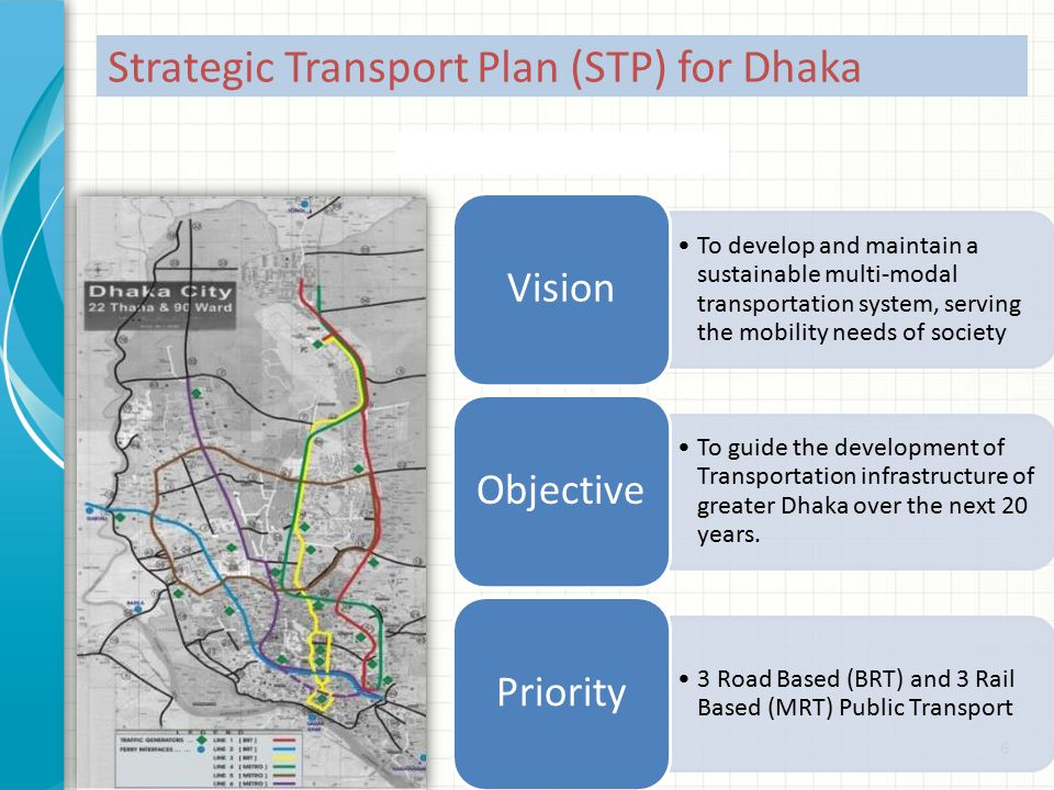 6 Strategic Transport Plan (STP) for Dhaka To develop and maintain a sustainable multi-modal transportation system, serving the mobility needs of society Vision To guide the development of Transportation infrastructure of greater Dhaka over the next 20 years.