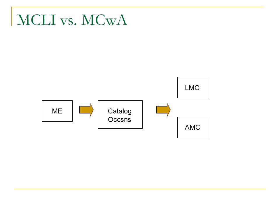 MCLI vs. MCwA MECatalog Occsns LMC AMC