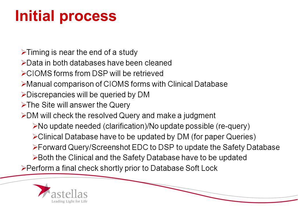 13 Initial process  Timing is near the end of a study  Data in both databases have been cleaned  CIOMS forms from DSP will be retrieved  Manual co