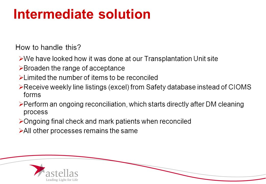17 Intermediate solution How to handle this?  We have looked how it was done at our Transplantation Unit site  Broaden the range of acceptance  Lim