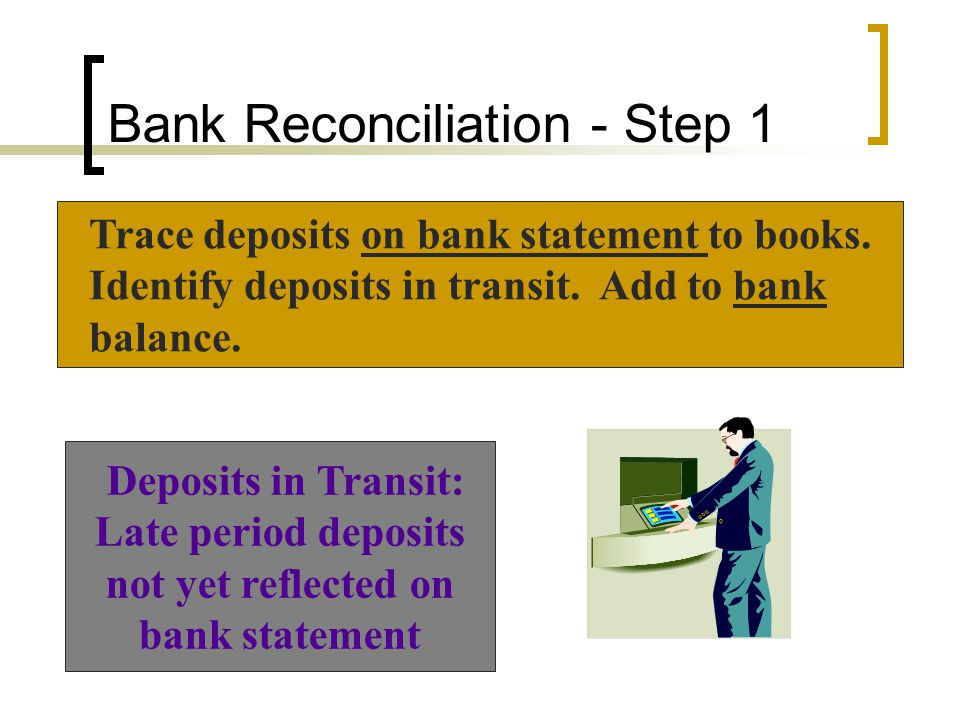 Example of Reconciliation Balance per statement, June 30$ 3,308.59 Add: Deposit in transit 642.30 Bank Statement Adjustments: Deposits 7